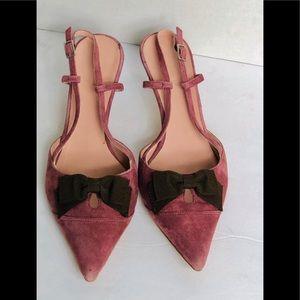 Boden Pink Suede Kitten heel slingback Shoes